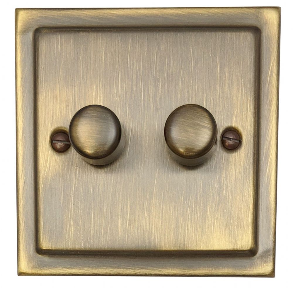 G&H TAB12 Trimline Plate Antique Bronze 2 Gang 1 or 2 Way 40-400W Dimmer Switch